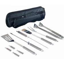 11 Piece Stainless Steel BBQ Set with Tote Bag