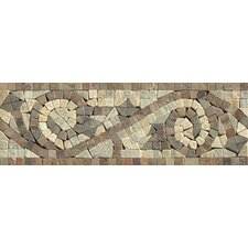 """12"""" x 4"""" Stone Mosaic Liner Mystic Swirl Tile in Amber Gold/Chinese Multicolor"""