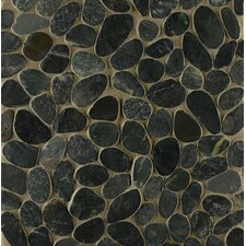 Hemisphere Random Sized Stone Pebble Tile in Ocean Black