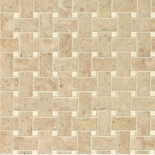 Pasha Basket Weave Polished Marble Mosaic Tile in Cappuccino and Corinthian White
