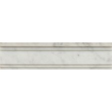 "Honed Marble 12"" x 3"" Chandra Crown Molding Tile in White Carrara"