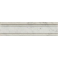 "Polished Marble 12"" x 3""  Chandra Crown Molding Tile in White Carrara"