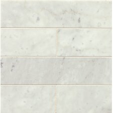 "Honed 3"" x 12"" Marble Field Tile in White Carrara"