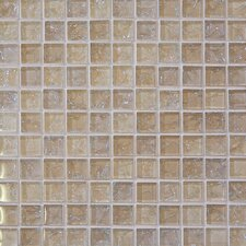 """Ice Crackle 1"""" x 1"""" Glass Mosaic Tile in Cream"""