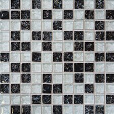 Ice Crackle 1'' x 1'' Glass Mosaic Tile in Black and Gray