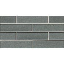 "Manhattan 2"" x 7.88"" Glass Mosaic Tile in Gray"