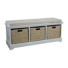 Newport Wooden Bedroom Storage Bench with 3 Baskets