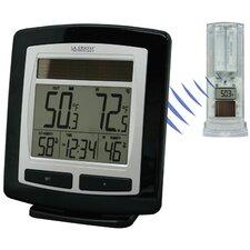 Solar Powered Temperature Station Wall Clock