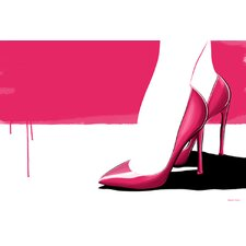 'Pink Stilettos' Shoes Fashion Graphic Art on Wrapped Canvas