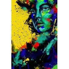 Blue Eye Girl Painting Print on Canvas