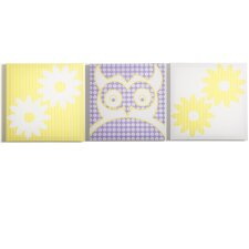 Sweets Pretty Owl Flowers Canvas Art (Set of 3)