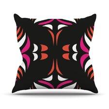 Magenta Orange Hawaiian Retro Throw Pillow
