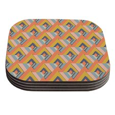 So Cool by Akwaflorell Orange Yellow Coaster (Set of 4)