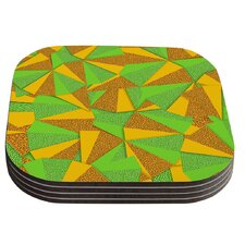 This Side by Danny Ivan Green Yellow Coaster (Set of 4)