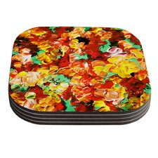 Floral Fantasy II by Ebi Emporium Orange Yellow Coaster (Set of 4)