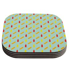 Hot Dog Pattern II by Will Wild Food Coaster (Set of 4)