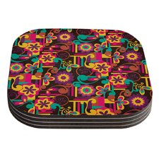 Arabesque Floral by Louise Machado Bright Colorful Coaster (Set of 4)