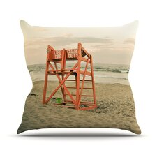 Dusk At the Beach by Debbra Obertanec Ocean Cotton Throw Pillow