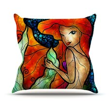 Ariel by Mandie Manzano Mermaid Cotton Throw Pillow