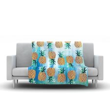 Pineapple Beach by Nikki Strange Fleece Throw Blanket
