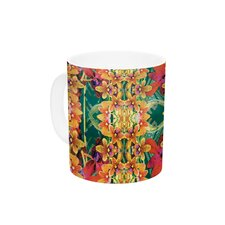 Tropical Floral by Dawid Roc 11 oz. Orange Ceramic Coffee Mug