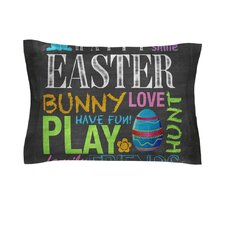 Happy Easter Text by Snap Studio Pastels Typography Cotton Pillow Sham