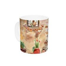 Tuscan Door by Theresa Giolzetti 11 oz. Green Ceramic Coffee Mug