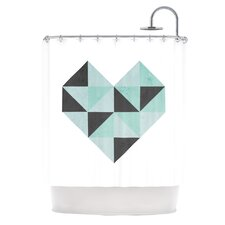 Geo Heart Shower Curtain