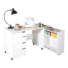 "Crea 58.13"" W x 23.63"" D Sewing Table"