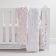 Pink and Gray 3 Piece Crib Bedding Set