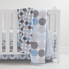Gray and Blue 3 Piece Crib Bedding Set