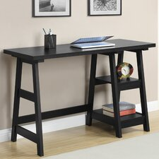 Trestle Writing Desk with 2 Shelves