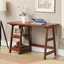 Trestle Writing Desk with 2 Shelves