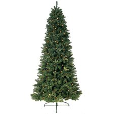 8' Green Eastwood Fir Slim Artificial Christmas Tree with 750 Clear Lights and Metal Stand