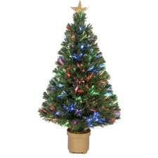 """Fiber Optic 2' 8"""" Green Artificial Christmas Tree with LED Muticolor Light"""