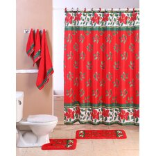 Christmas 2015 18 Piece Mistletoe Bathroom Shower Set