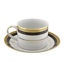 Sahara Black 8 Oz. Teacup and Saucer (Set of 6)