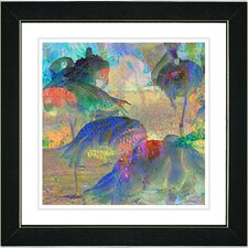 """Abstract Flamingos"" by Zhee Singer Framed Fine Art Giclee Painting Print"