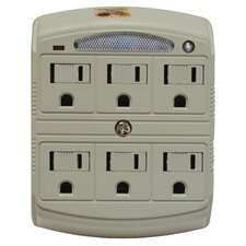 6 Outlet Surge Protected Wall Adapter with Night Light