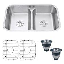 "Parmi 32.25"" x 18.89"" Undermount 18 Gauge Double Bowl Kitchen Sink"