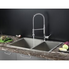 "33"" x 22"" Drop-in Kitchen Sink with Faucet"