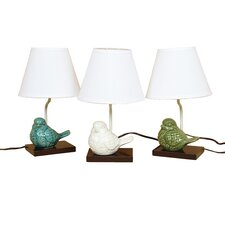 """Crackle Ceramic Bird 14.5"""" H Table Lamp with Empire Shade"""