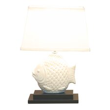 """Ceramic Fish 15.5"""" H Table Lamp with Oval Shade"""