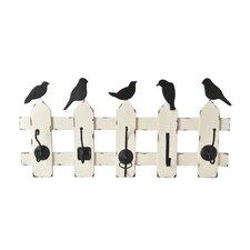 5-Hook Fence Birds Wall Décor
