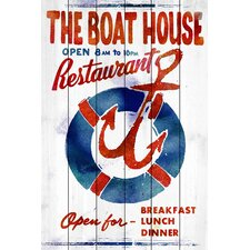The Boathouse Restaurant Graphic Art on Wood Planks in White