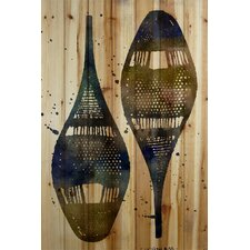 Snow Shoes Graphic Art on Wood Planks in Natural