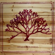 Staghorn Coral Graphic Art on Wood Planks in Natural