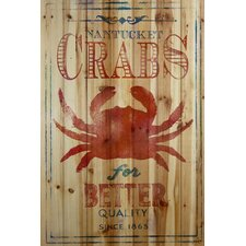 Nantucket Crabs Graphic Art on Wood Planks in Natural