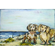 """Beautiful Dachshunds"" by Tori Campisi Painting Print on Wrapped Canvas"