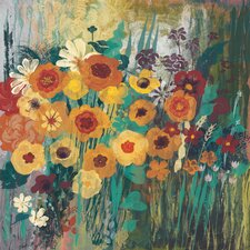 Floral Frenzy Green I Painting Print on Wrapped Canvas